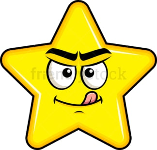 Evil look star emoticon. PNG - JPG and vector EPS file formats (infinitely scalable). Image isolated on transparent background.