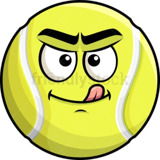 Evil look tennis ball emoticon. PNG - JPG and vector EPS file formats (infinitely scalable). Image isolated on transparent background.