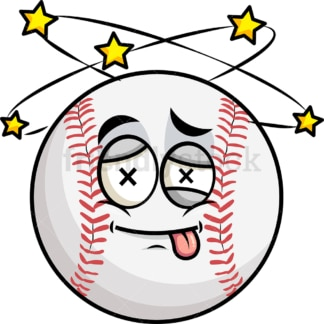 Beaten up baseball emoticon. PNG - JPG and vector EPS file formats (infinitely scalable). Image isolated on transparent background.