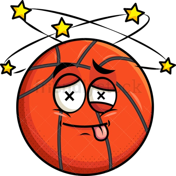 Beaten up basketball emoticon. PNG - JPG and vector EPS file formats (infinitely scalable). Image isolated on transparent background.