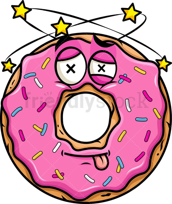 Beaten up donut emoticon. PNG - JPG and vector EPS file formats (infinitely scalable). Image isolated on transparent background.