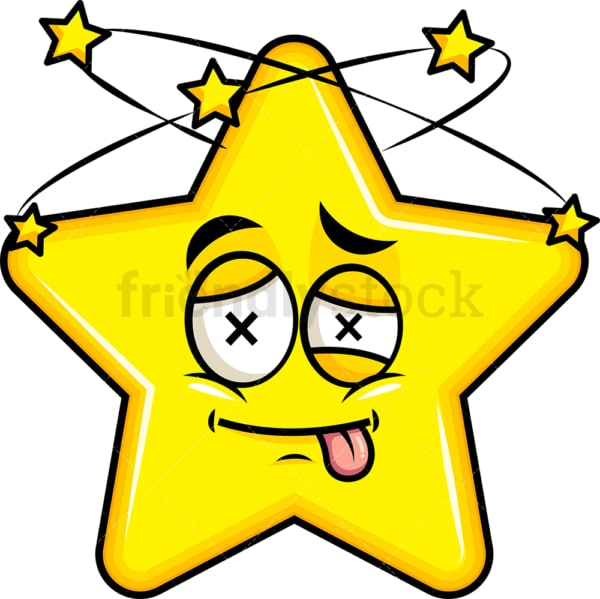 Beaten up star emoticon. PNG - JPG and vector EPS file formats (infinitely scalable). Image isolated on transparent background.