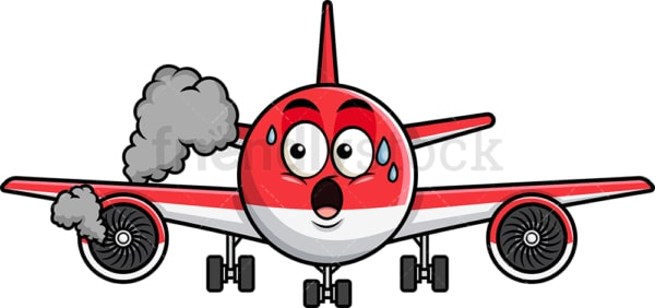 Airplane with engine on fire emoticon. PNG - JPG and vector EPS file formats (infinitely scalable). Image isolated on transparent background.