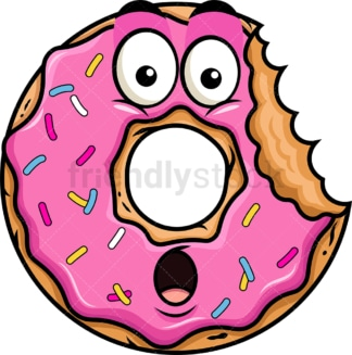 Bitten donut emoticon. PNG - JPG and vector EPS file formats (infinitely scalable). Image isolated on transparent background.