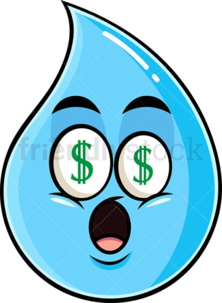 Money eyes raindrop emoticon. PNG - JPG and vector EPS file formats (infinitely scalable). Image isolated on transparent background.