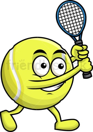 Tennis ball holding a racket. PNG - JPG and vector EPS file formats (infinitely scalable). Image isolated on transparent background.