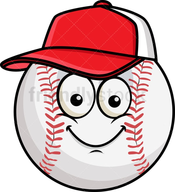 Baseball wearing hat emoticon. PNG - JPG and vector EPS file formats (infinitely scalable). Image isolated on transparent background.