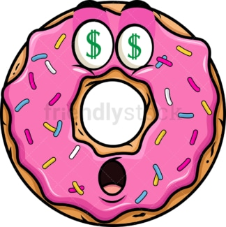 Money eyes donut emoticon. PNG - JPG and vector EPS file formats (infinitely scalable). Image isolated on transparent background.