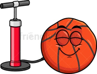 Pump inflating basketball emoticon. PNG - JPG and vector EPS file formats (infinitely scalable). Image isolated on transparent background.