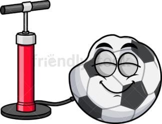 Pump inflating soccer ball emoticon. PNG - JPG and vector EPS file formats (infinitely scalable). Image isolated on transparent background.