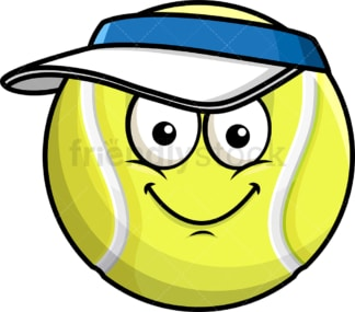 Tennis ball wearing hat emoticon. PNG - JPG and vector EPS file formats (infinitely scalable). Image isolated on transparent background.