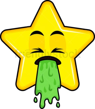 Vomiting star emoticon. PNG - JPG and vector EPS file formats (infinitely scalable). Image isolated on transparent background.