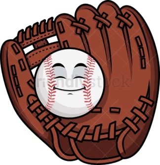 Baseball in catchers mitts emoticon. PNG - JPG and vector EPS file formats (infinitely scalable). Image isolated on transparent background.