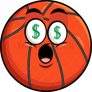 Basketball with money eyes emoticon. PNG - JPG and vector EPS file formats (infinitely scalable). Image isolated on transparent background.