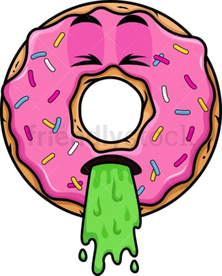 Donut throwing up emoticon. PNG - JPG and vector EPS file formats (infinitely scalable). Image isolated on transparent background.
