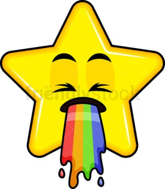 Rainbow vomit star emoticon. PNG - JPG and vector EPS file formats (infinitely scalable). Image isolated on transparent background.