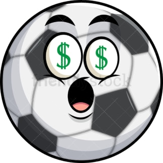 Soccer ball with money eyes emoticon. PNG - JPG and vector EPS file formats (infinitely scalable). Image isolated on transparent background.