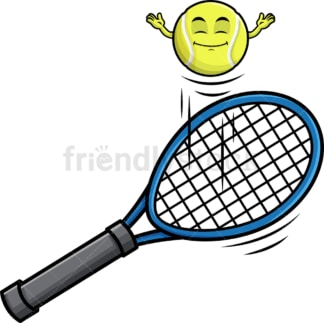 Tennis ball hopping on racket emoticon. PNG - JPG and vector EPS file formats (infinitely scalable). Image isolated on transparent background.