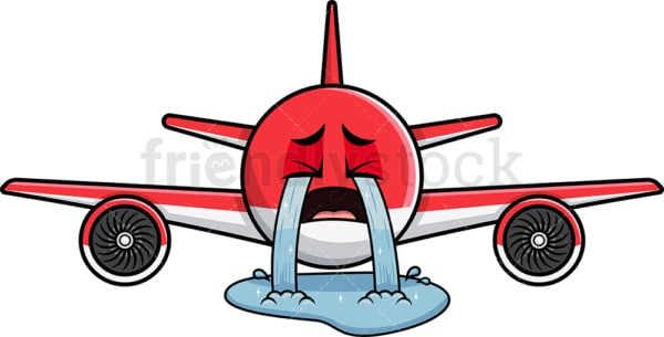 Crying with wailing tears airplane emoticon. PNG - JPG and vector EPS file formats (infinitely scalable). Image isolated on transparent background.