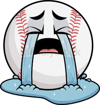 Crying with wailing tears baseball emoticon. PNG - JPG and vector EPS file formats (infinitely scalable). Image isolated on transparent background.