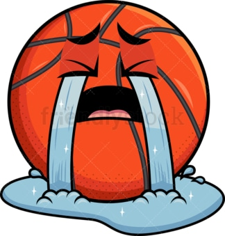 Crying with wailing tears basketball emoticon. PNG - JPG and vector EPS file formats (infinitely scalable). Image isolated on transparent background.