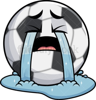 Crying with wailing tears soccer ball emoticon. PNG - JPG and vector EPS file formats (infinitely scalable). Image isolated on transparent background.