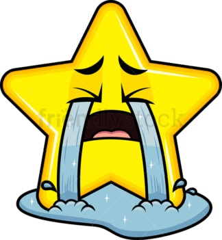 Crying with wailing tears star emoticon. PNG - JPG and vector EPS file formats (infinitely scalable). Image isolated on transparent background.