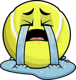 Crying with wailing tears tennis ball emoticon. PNG - JPG and vector EPS file formats (infinitely scalable). Image isolated on transparent background.