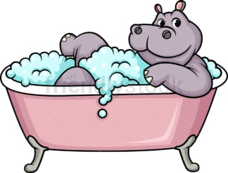 Hippo having a bath. PNG - JPG and vector EPS (infinitely scalable).