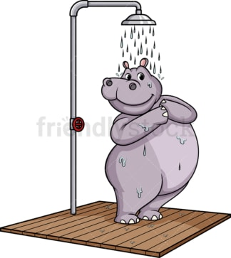 Hippo showering. PNG - JPG and vector EPS (infinitely scalable).