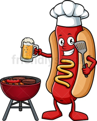 Hot dog cooking on the grill. PNG - JPG and vector EPS (infinitely scalable).