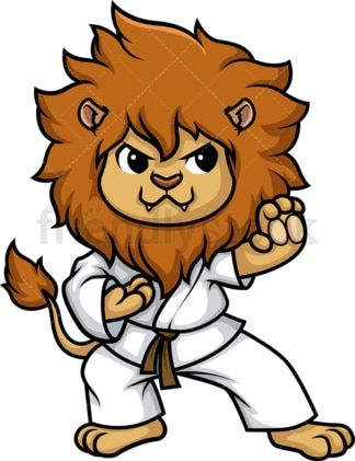 Lion doing karate. PNG - JPG and vector EPS (infinitely scalable).