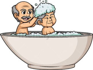 Old couple having a bath in bathtub. PNG - JPG and vector EPS (infinitely scalable).