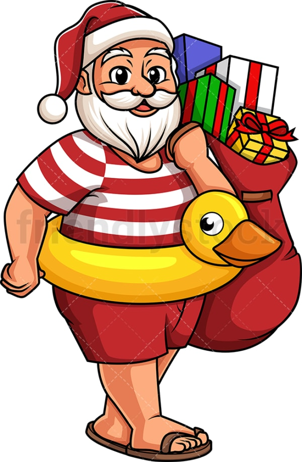 Summer santa claus holding gift bag. PNG - JPG and vector EPS (infinitely scalable).