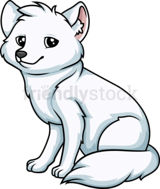 White fox sitting down. PNG - JPG and vector EPS (infinitely scalable).