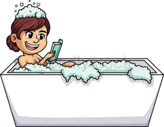 Woman reading book in the bathtub. PNG - JPG and vector EPS (infinitely scalable).