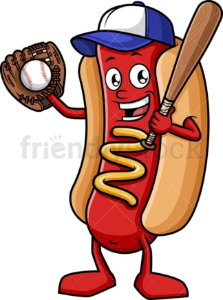 Baseball fan hot dog. PNG - JPG and vector EPS (infinitely scalable).