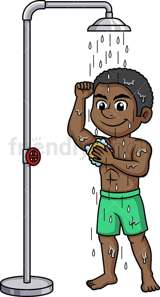 Black man taking a shower. PNG - JPG and vector EPS (infinitely scalable).