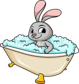 Bunny rabbit having a bath. PNG - JPG and vector EPS (infinitely scalable).