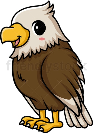 Chibi kawaii bald eagle. PNG - JPG and vector EPS (infinitely scalable).