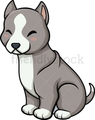 Chibi kawaii pitbull dog. PNG - JPG and vector EPS (infinitely scalable).