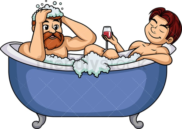 Gay couple in bathtub. PNG - JPG and vector EPS (infinitely scalable).
