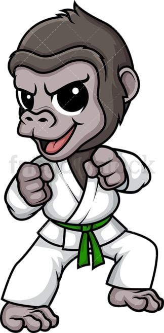 Gorilla doing karate. PNG - JPG and vector EPS (infinitely scalable).