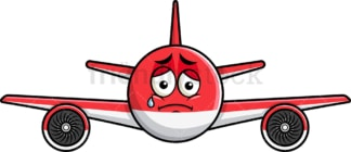 Teared up sad airplane emoticon. PNG - JPG and vector EPS file formats (infinitely scalable). Image isolated on transparent background.