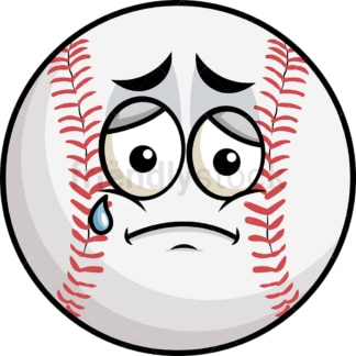 Teared up sad baseball emoticon. PNG - JPG and vector EPS file formats (infinitely scalable). Image isolated on transparent background.
