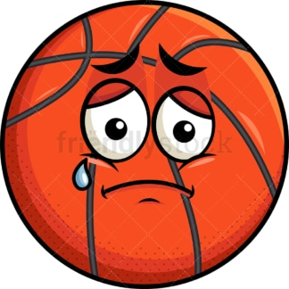 Teared up sad basketball emoticon. PNG - JPG and vector EPS file formats (infinitely scalable). Image isolated on transparent background.