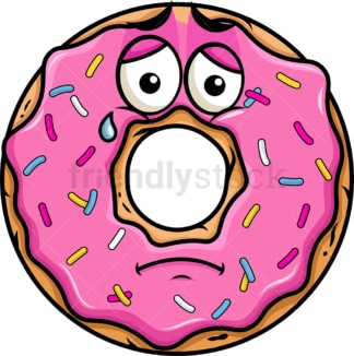 Teared up sad donut emoticon. PNG - JPG and vector EPS file formats (infinitely scalable). Image isolated on transparent background.