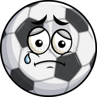 Teared up sad soccer ball emoticon. PNG - JPG and vector EPS file formats (infinitely scalable). Image isolated on transparent background.