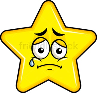 Teared up sad star emoticon. PNG - JPG and vector EPS file formats (infinitely scalable). Image isolated on transparent background.