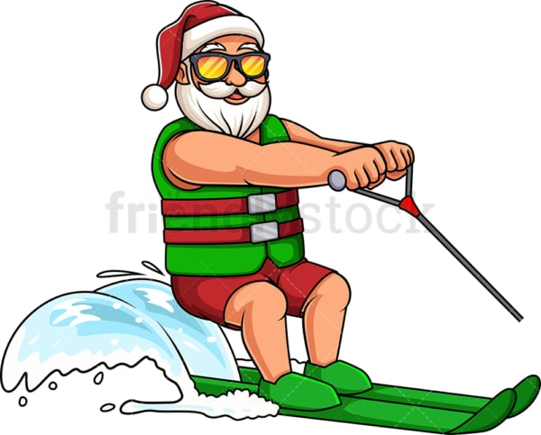 Water skiing summer santa claus. PNG - JPG and vector EPS (infinitely scalable).